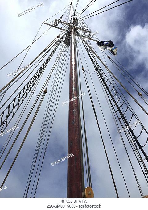 Mast of the famous Blue Nose II ship, Lunaberg, South Shore, Nova Scotia, Canada