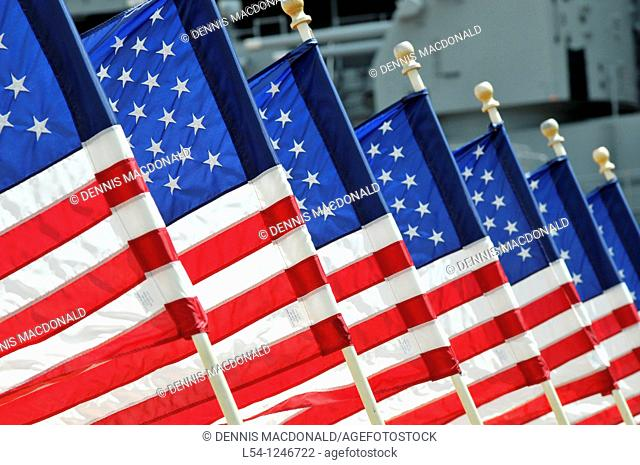 US Flags USS Missouri Memorial Pearl Harbor Pacific National Monument Hawaii Ford Field