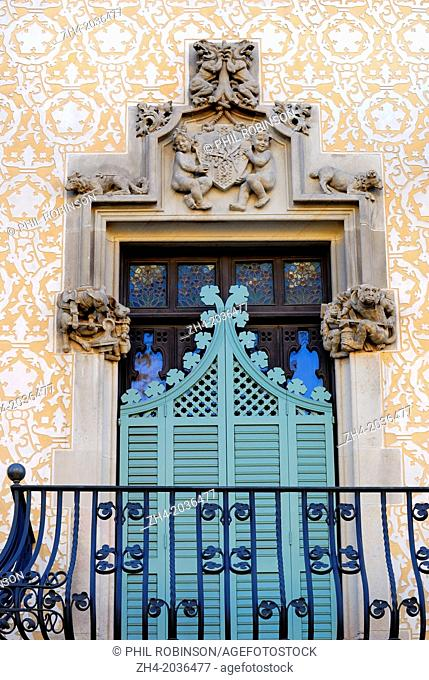 Barcelona, Spain. Casa Amatller (Puig i Cadafalch; 1898-1900) at Passeig de Gracia, No 41. Facade detail