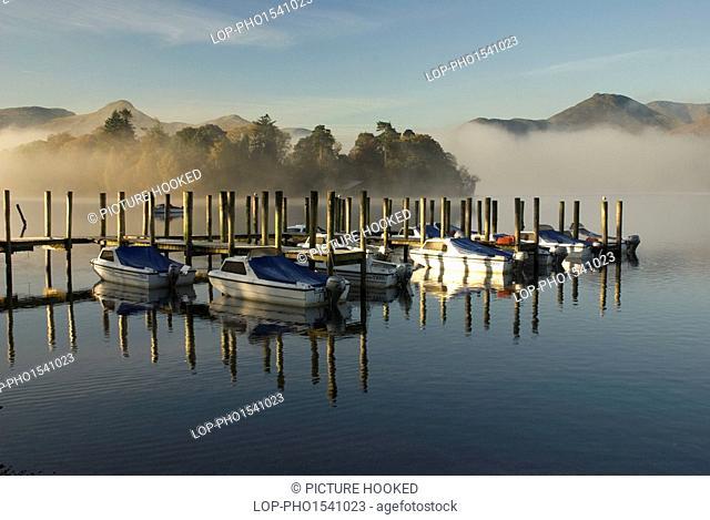 England, Cumbria, Derwentwater. Early morning reflections on Derwentwater in Cumbria