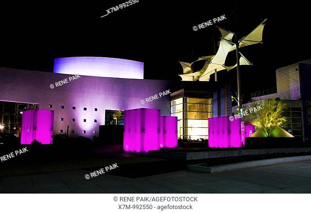 Glass pergolas and giant canopies at Mesa Arts Center, Arizona, United States of America at night  The glass pergolas shift colors