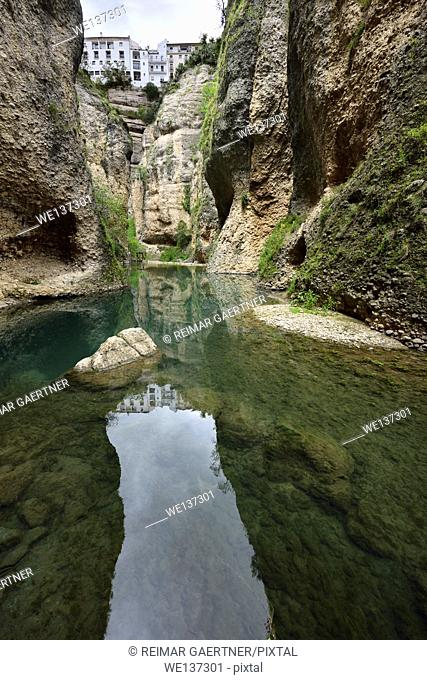 Guadalevin river at El Tajo Gorge from the bottom of the secret water mine in Ronda Spain