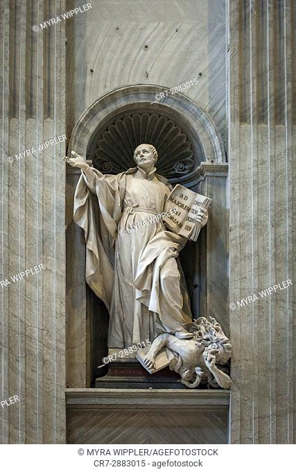 Statue of Saint Ignatius of Loyola, founder of the Society of Jesus. St. Peter's Basilica, Vatican City, Rome, Italy
