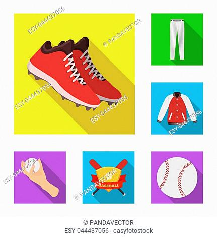 Baseball and attributes flat icons in set collection for design.Baseball player and equipment bitmap symbol stock illustration