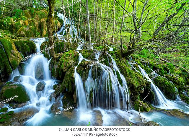 TOBERIA FALLS, ANDOIN, SIERRA ENTZIA NATURAL PARK, ALAVA, BASQUE COUNTRY, SPAIN, EUROPE