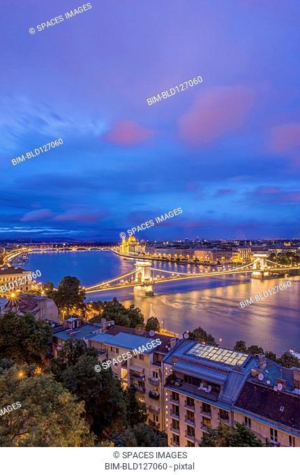 View of Chain Bridge illuminated at night, Budapest, Hungary