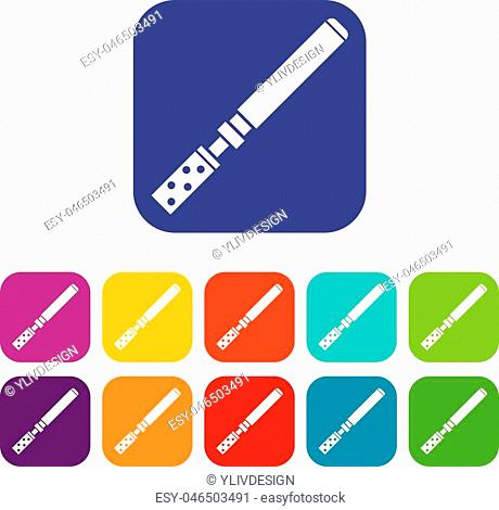 Electronic cigarette with cartridges icons set vector illustration in flat style in colors red, blue, green, and other