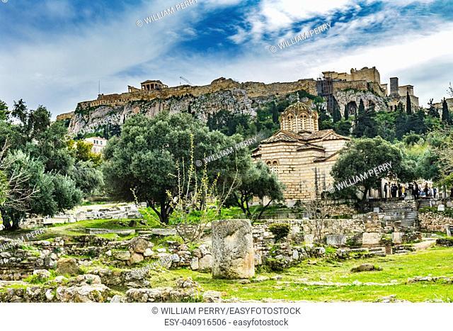 Ancient Agora Market Place Byzantine Church of Holy Apostles Solaki Temple Erechtheion Parthenon Acropolis Athens Greece