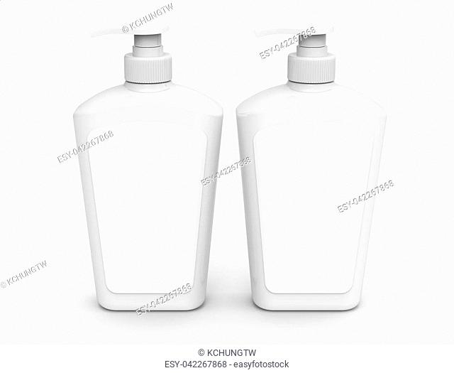 Pump dispenser bottle mockup, blank white plastic bottle in 3d rendering, body wash or hygiene products with label