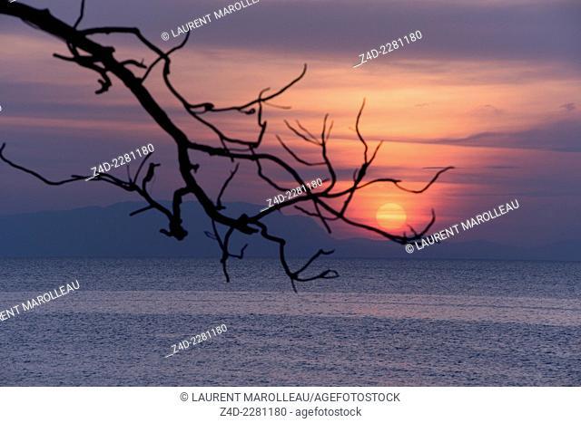 Seascape sunset. Krong Kep, Kep Province, Cambodia, Southeast Asia