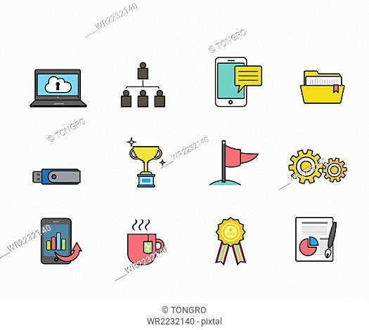 Set of icons related to business