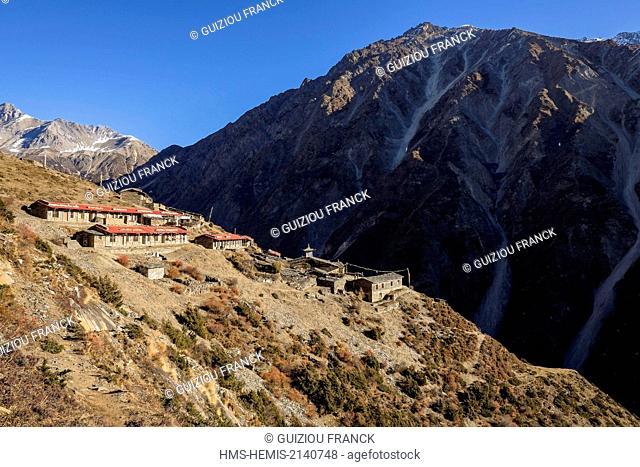 Nepal, Gandaki zone, Tsum valley trek, Mu Gompa monastery (alt.3580m)
