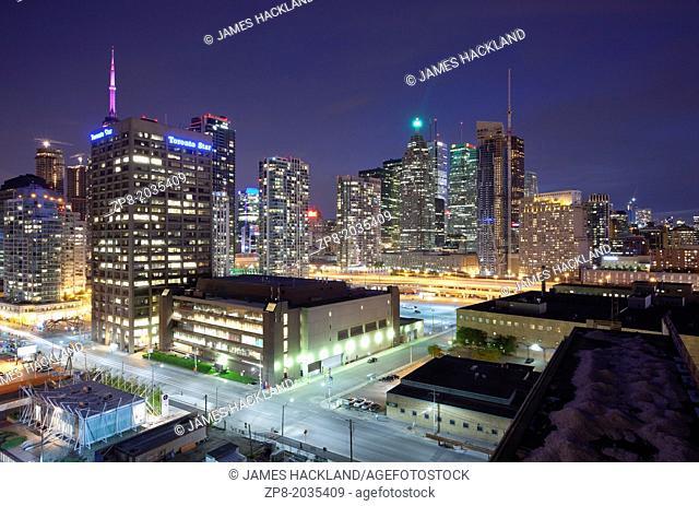 View of downtown Toronto from Pier 27. Toronto, Ontario, Canada