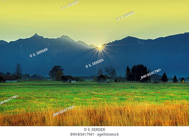 sunset at the Laber and Ettaler Mandl, seen from Murnauer Moos, Germany, Bavaria, Oberbayern, Upper Bavaria, Ammergebirge