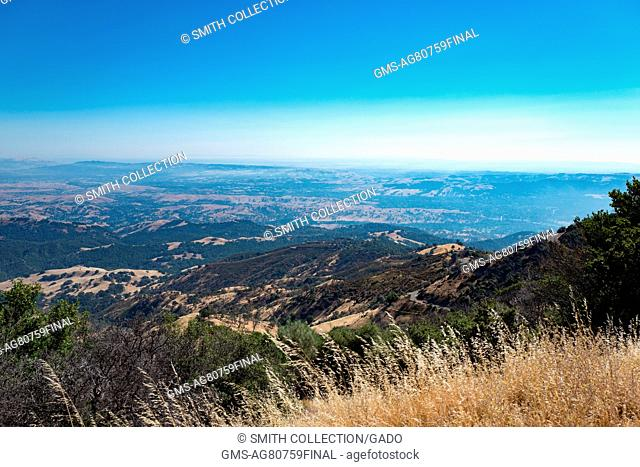View from the summit of Mount Diablo in the San Francisco Bay Area, looking South towards the cities of Livermore, Pleasanton, and Dublin, August 13, 2016