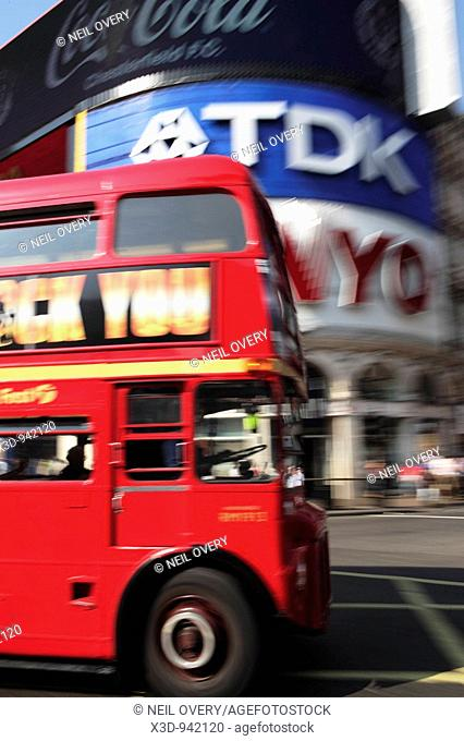 Red London bus double decker Piccadilly Circus