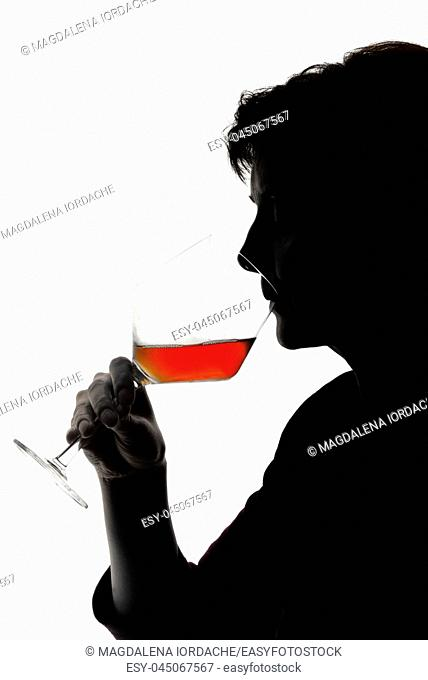 Silhouette of Woman drinking wine
