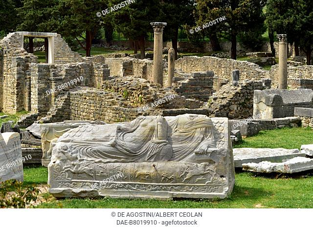 Relief-decorated tomb with the ruins of Manastirine (necropolis and basilica) in the background, Salona, Solin, Croatia. Roman and Paleo-Christian civilization