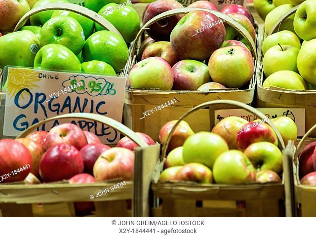 Fresh organic apples at a farm market