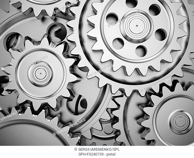 Steel gear wheels in an engine. 3d illustration