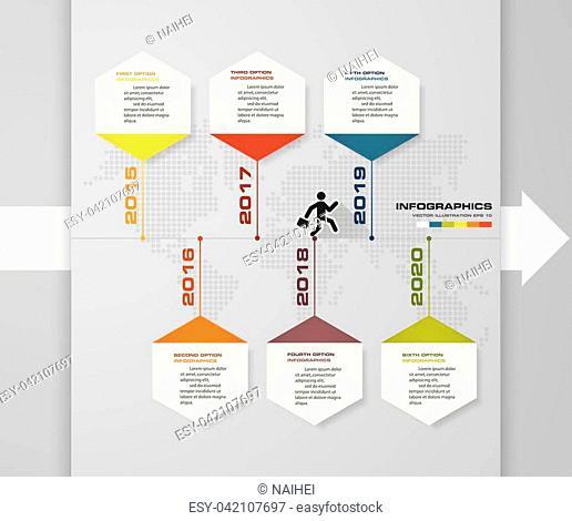 6 steps presentation template. 6 steps timeline presentation template. EPS10