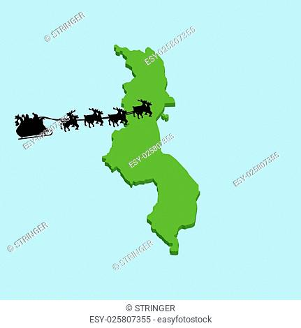 A 3D map on blue water with Santa background of Malawi