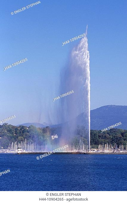 Switzerland, Europe, Genève, Geneva, scenery, panorama, ship, Jet d'eau, fountain, canton, town, city, lake, Lac Léman, lake Geneva