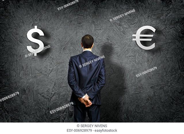 Conceptual image - problem of a choice of currency