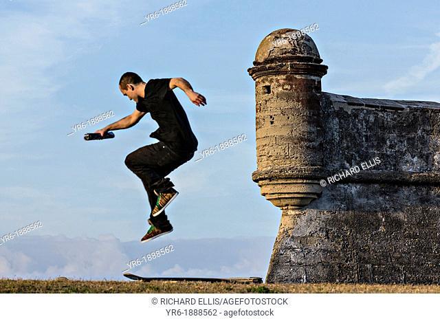 Skate boarder at the Castillo de San Marcos in St  Augustine, Florida  St Augustine is the oldest city in America