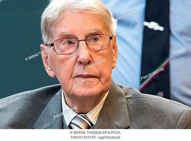 Former SSoverseer Reinhold Hanning sitting on the dock at the regional court in Detmold, Germany, 17 June 2016. The court sentenced Hanning to five years in...