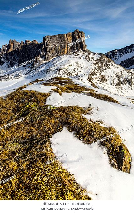Italy, Alps, Dolomites, Mountains, View from Passo Giau, Formin, Winter Dolomites