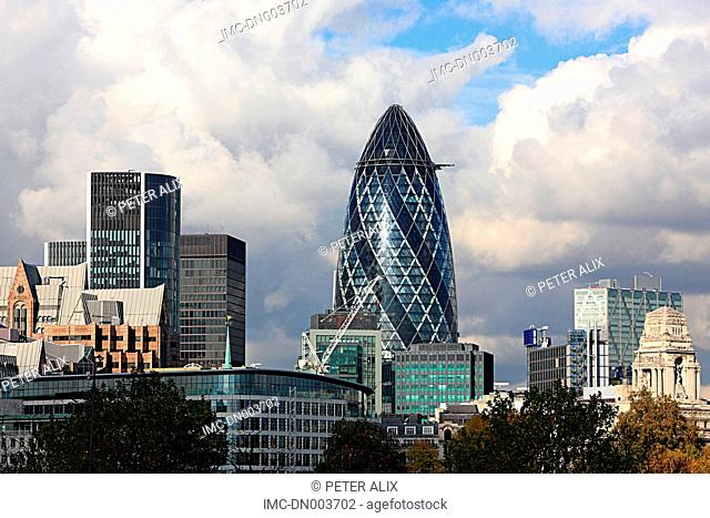 England, London, The city and 30 St Mary Axe Swiss Re Building