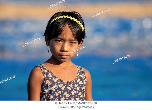 Local Girl with a headband, portrait, Ngapali, Thandwe, Rakhine State, Myanmar