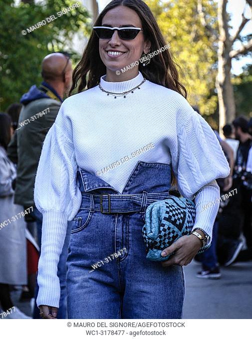 PARIS, France- September 26 2018: Erika Boldrin on the street during the Paris Fashion Week
