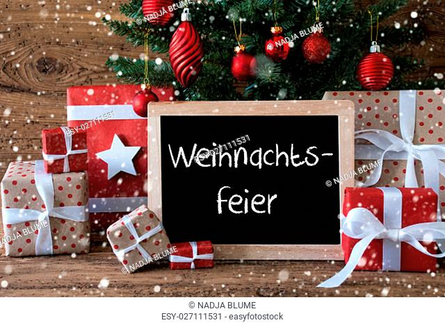 Chalkboard With German Text Weihnachtsfeier Means Christmas Party. Colorful Card For Seasons Greetings. Christmas Tree With Balls And Snowflakes