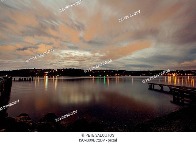 Harbour at dusk, Bainbridge, Washington, USA