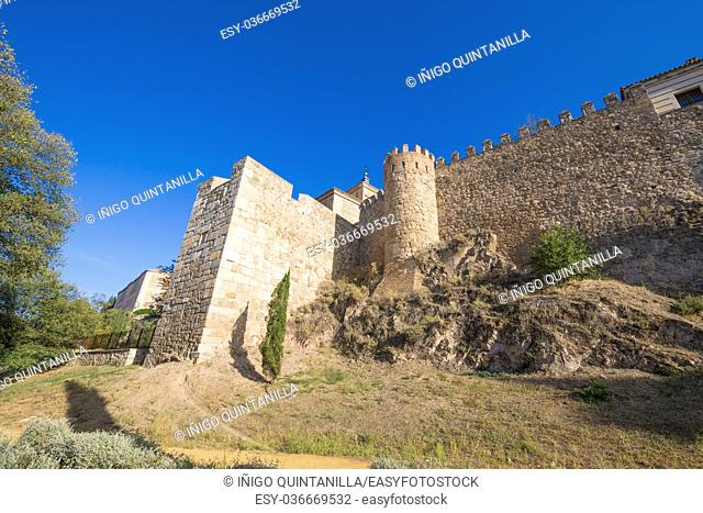 ancient fortress wall of Toledo city, landmark and monument, Spain, Castilla La Mancha, Europe