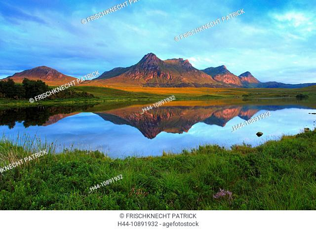 Evening, evening mood, Ben Loyal, mountain, mountains, mountains, bodies of water, summits, peaks, glowing, Highland, highlands