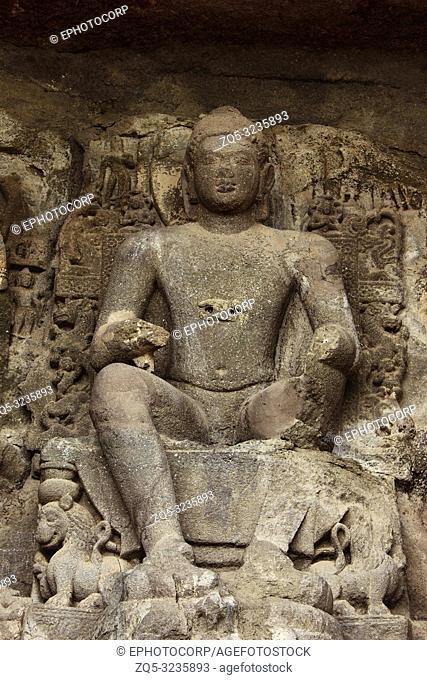 Buddha in Pralambapadasana posture Cave No 5, Aurangabad caves, Western Group, Aurangabad, Maharashtra