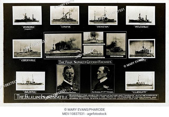 Card commemorating Falkland Islands naval battle on 8 December 1914, when the British navy sank four German warships (Scharnhorst, Leipzig