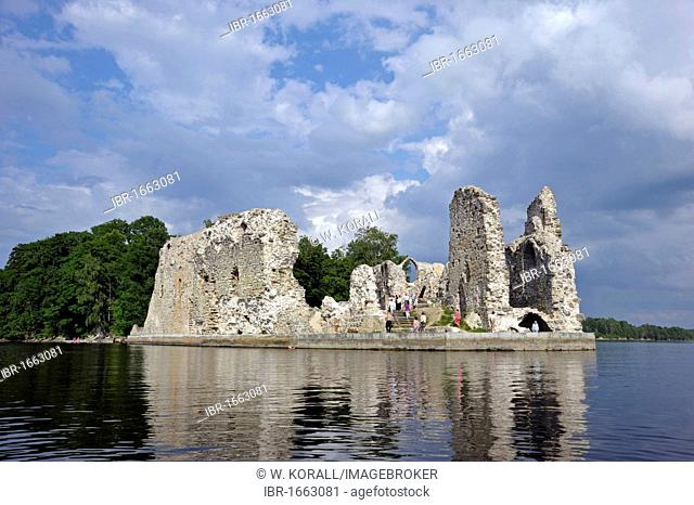 Ruins of the bishop's castle, Daugava river, Koknese, Latvia, Baltic States, Nothern Europe