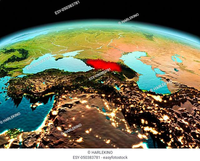Morning above Georgia highlighted in red on model of planet Earth in space. 3D illustration. Elements of this image furnished by NASA