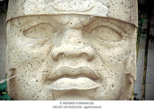 Colossal Olmec head, now at the Jalapa Museum, Veracruz, Mexico