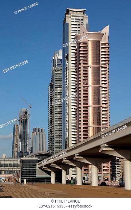 Metro Line and skyscrapers in the Sheikh Zayed Road, Dubai United Arab Emirates