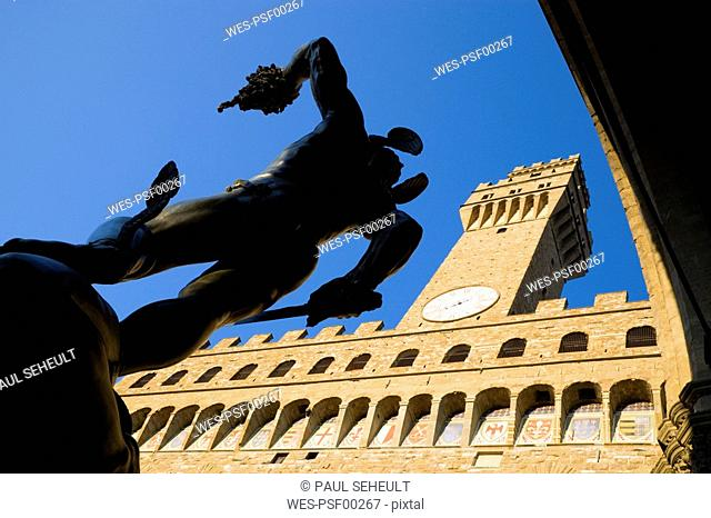 Italy, Tuscany, Florence, Statue of Perseus, low angle view