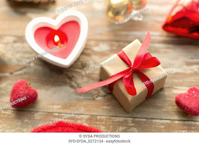 christmas gift, heart shaped decorations, candle