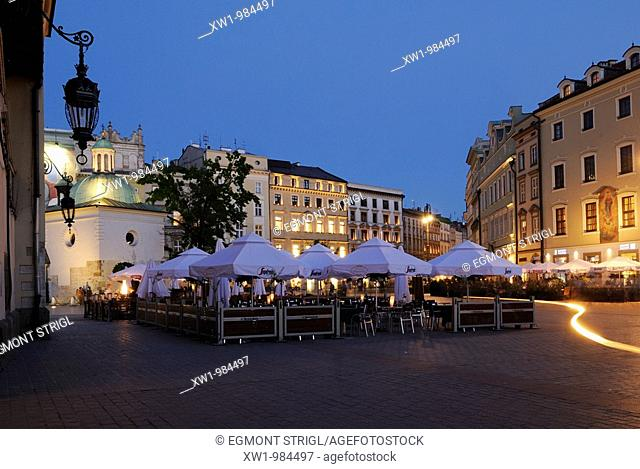 historic buildings along the central square, market place, Rynek of Krakow, Poland, Eastern Europe