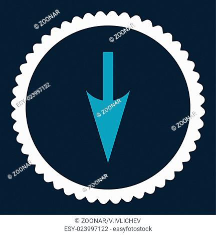 Sharp Down Arrow flat blue and white colors round stamp icon