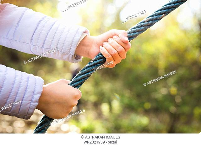 Close-up of girl's hands holding rope in forest