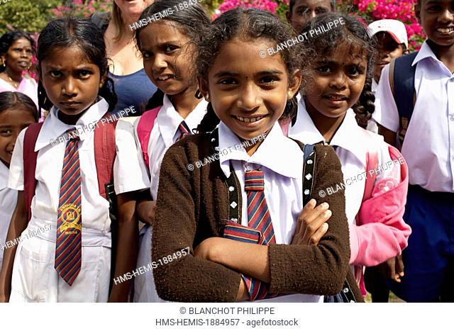 Sri Lanka, Central Province, Kandy, Peradeniya, Royal Botanical Garden, Portrait of young schoolgirls